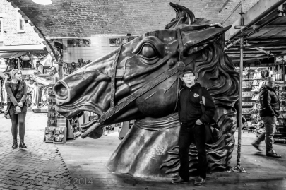 Simon and a giant horse head!