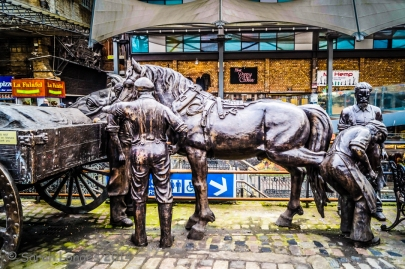 Sculptures celebrating the history of the Stables Market