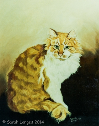 Cat oil painting