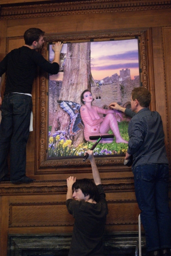 Ashton, Tom and Andy putiing up our artwork