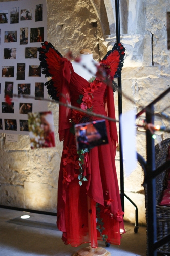 Costume and photographs on display