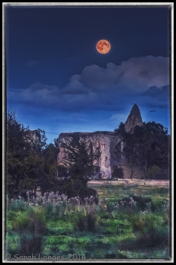 Supermoon over Newark Priory