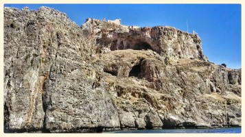 Arched caves in the Acropolis at Lindos